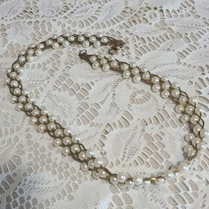 Jewelry - Intricate Imitation Pearl and Goldtone Necklace